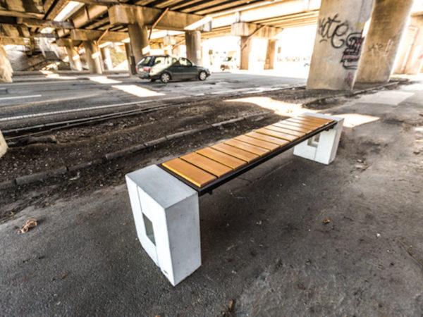 parkowa ławka betonowa Roma Prestige bez oparcia malaarchitektura.info.pl